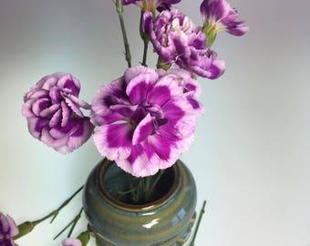 Green flower vase, japanese ikebana vase, kenzan flower arranger,stailess steel pin frog, item 1602