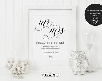 Signature Drinks Wedding Sign | Signature Drinks Printable Set | Customized Drinks | 4 sizes | Bar Sign | Wedding Sign | Drinks | MAM200_03