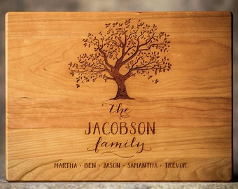 Personalized Family Tree Cutting Board, Hardwood Cutting Board, Personalized Couples Gift, Engraved Cutting Board, Housewarming Gift