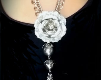 After Life Accessories Hand Made: Shabby Chic Metal Flower & Charm Chain Necklace
