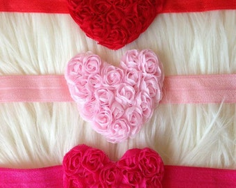 SALE - Adorable valentine headband Red, Pink or Hot Pink