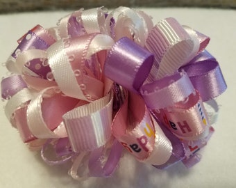 Pink, Purple, and White Ribbon Hair Bow with Alligator Clip, Hair Barrette, Hair Clip, Happy Birthday, Stripes, Polka Dot