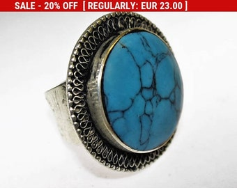 Afghan Turquoise Tribal Ring US 7, Vintage Hippie Boho Kuchi Jewelry, Tribal Fusion, Nomad Jewelry, Gift for Her, Statement Ring