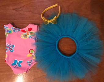 American Doll Dance recital butterfly leotard, Ballerina Girl Doll clothes 18 inch doll clothes, 15 inch doll clothes, doll leotard tutu set