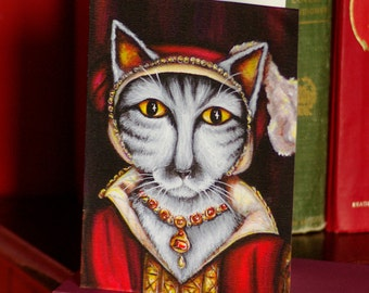 Tudor Cat Card, Catherine Parr Silver Tabby Cat 5x7 Greeting Card