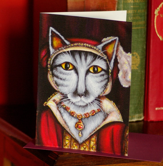 Catherine Parr Silver Tabby Tudor Cat Greeting Card