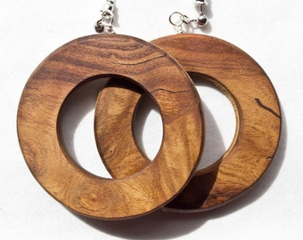 Russian Olive Wood Hoop Earrings From Burl - free shipping in the USA