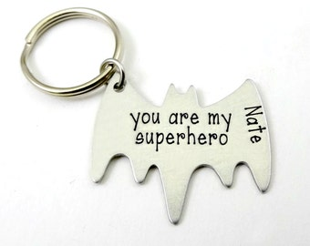 Superhero Bat Key Chain Personalized - Fathers Day - Boyfriend Husband Partner - Engraved with Name - Valentine's Day