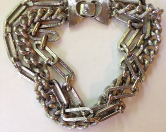 Modernist Aluminum  Chain Silver Necklace Vintage 50s Choker Industrial Jewelry