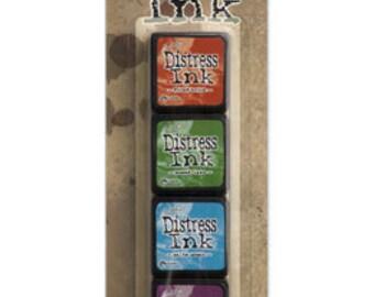 Ranger Tim Holtz MINI DISTRESS INK Pads - Set # 2 (Fired Brick, Mowed Lawn, Salty Ocean, and Seedless Preserves)