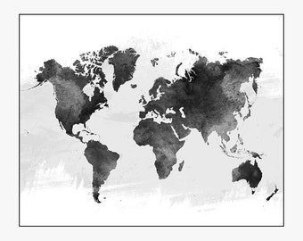 world map art, world map poster, black and white map, travel map, world map wall art, home decor, gift, travel, wall decor, iPrintPoster