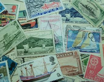 35 Ship Postage Stamps, Used Stamps, Vintage Stamps, Ships, World Wide, Travel Journal, Sailing Ships, Boats