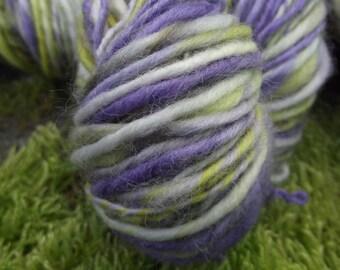 Handspun yarn, Hand painted Organic Polwarth wool yarn, worsted, super soft-SPRING CROCUS