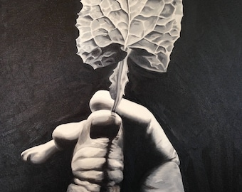 Black and White Oil Painting - Hand and Leaf