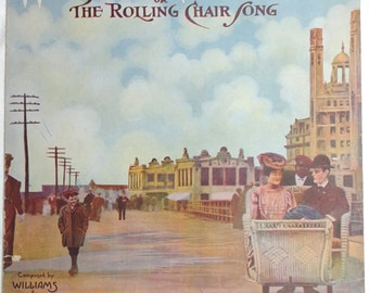 antique Atlantic City Boardwalk Rolling Chair Song illustrated vintage paper lithograph history new jersey ephemera