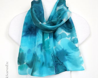 Blue gray silk scarf, Hand painted abstract silk, Floral scarf aqua blue gray, Art silk scarf, Blue watercolor scarf, Gift for her, Mom gift