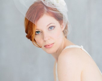 "Bridal Veil, Birdcage Wedding,Silk Flower - ""Camille"""