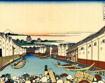 Nihonbashi Bridge in Edo Katsushika Hokusai Japanese Woodblock Poster Art Decor Picture Print A3 A4
