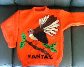 """Cute Fantail 8 ply Jumper Pattern for sizes 22 - 40"""". For Children to Adults!!  Kiwiana on a Jumper!!"""