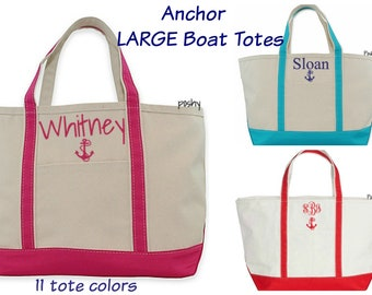 Monogram Large Tote, Personalized Beach Bag/ Personalized Anchor Bag/ Boat Tote, Boat tote, Beach bag, Bridesmaid Gift, Monogrammed