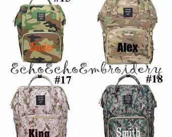 Diaper bag, Nappy, Baby Bag. Backpack PERSONALIZED  name monogram embroidered 12 Color options NEW CAMO