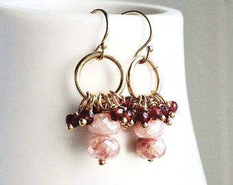 Peach Moonstone, Moonstone Earrings, Garnet Earrings, Peach Earrings
