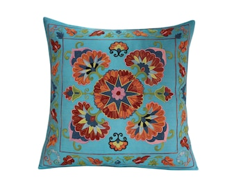 Hand Embroidered Suzani Pillow Cover SP47 (msp793), Suzani Pillow, Suzani Throw, Boho Pillow, Suzani, Decorative pillows, Accent pillows