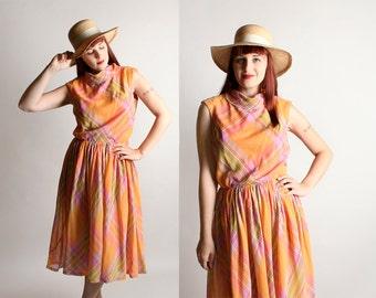 Vintage 1960s Dress - Orange Striped Plaid Sherbet Peach Cotton Rainbow Day Dress - Medium