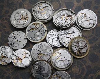 Watch Movements Steampunk Jewelry Making - Watch Parts Movement Silver 20 pieces - STEAMPUNK MOVEMENTS VINTAGE