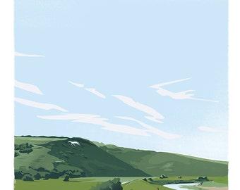 White Horse, Alfriston, Sussex, retro print (a3)