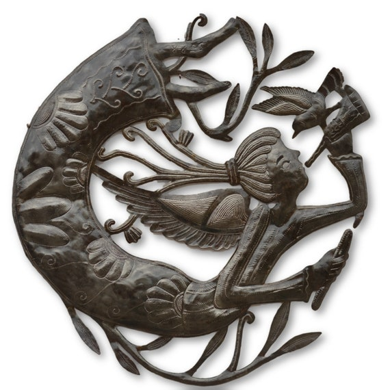 Haitian Angel & Bird, Limited Edition Haitian Quality Metal Sculpture, 22.5 x 22.5
