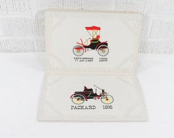 Cocktail Napkins Vintage Set Horseless Carriages / Cars on Irish Linen - Autocar Ford Packard Oldsmobile Winton - Leacock 1952 Napkin Folio