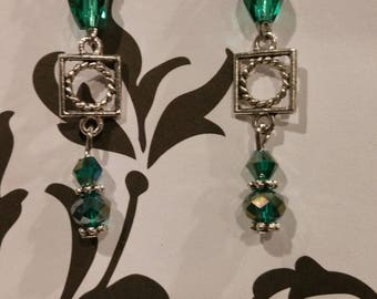 Sterling Silver Green  Swarvoski Earrings