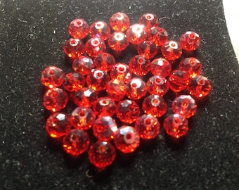 Faceted 6 mm red beads
