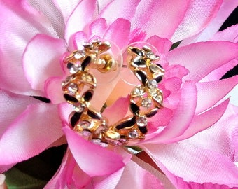 Black and Gold with Rhinestone Hoop Earrings Vintage Stud Earrings 1980 Half Hoops Costume Jewelry Free Shipping in USA