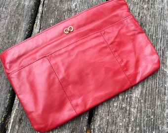 Vtg Red Leather Clutch