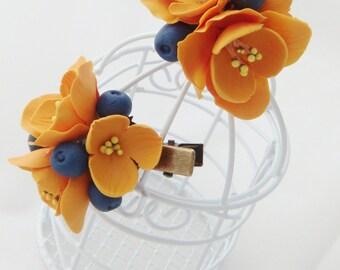 Flower hair clip - orange freesia, blueberry, flower barrette, Hair flower, Clay flower,  Polymer clay flower, Flower hair accessories