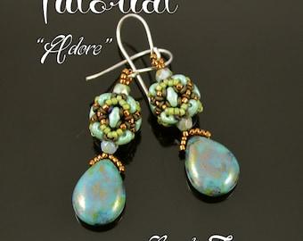 Adore - beaded bead earrings tutorial, beading tutorial, MiniDuo bead pattern, seed beads, Demi Round bead pattern / TUTORIAL ONLY