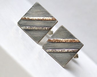 Textured Cufflinks - Oxidized Sterling Silver and 9k Rose Gold Cufflinks, Mens Gift