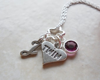 Twin Necklace in Sterling Silver with Birthstone and Initial N029