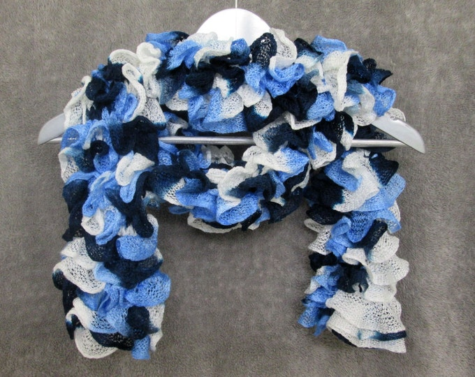 Ruffle Scarf - Blues & White