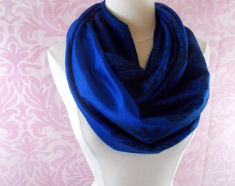 Royal blue paisley infinity scarf/Christmas scarf/blue scarf