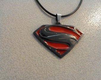 Superman pendant on 18 inch Black Cord 249573