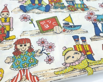 "Waverly Decorator Fabric ""Playtime"" Print Juvenile Children Baby Playroom Bedroom Nursery Toys Rainbow Colors Upholstery Curtains One Yard"