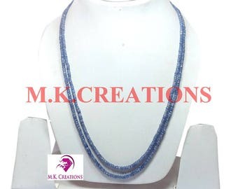 30% Off, Natural Blue Sapphire Beads 2 Strand Necklace, Multistrand Necklace, Beaded Layered Necklace, Statement Necklace, Christmas Gift