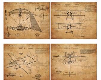 Digital art on vintage patent airplanes