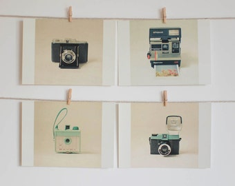 Postcard Set, Camera Photography, Still Life Photo, Mint Green and Black, Minimalist Art, Retro, Affordable Art - Camera Love