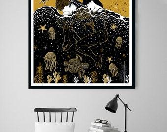 Seashore I, Wall Art Prints, Modern Decor, Black and White Prints, Wall Decor, Wall Prints, Home Decor.