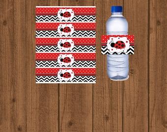 Ladybug Water Bottle Label, Ladybug Water Wrap, Lovebug, Red Black Ladybug, Instant Download