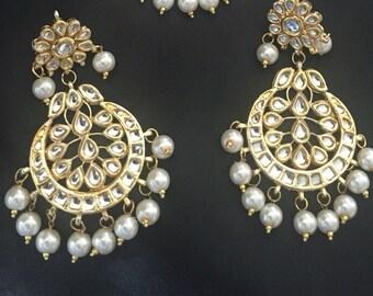 Kundan earrings , Indian earrings , Bollywood, India wedding jewelry, Indian kundan jewelry
